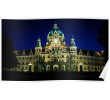 night shot of the town hall of hanover Poster