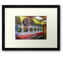 Neon Clock, Retro 50s-60s Burger King Framed Print