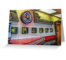 Neon Clock, Retro 50s-60s Burger King Greeting Card