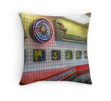 Neon Clock, Retro 50s-60s Burger King Throw Pillow