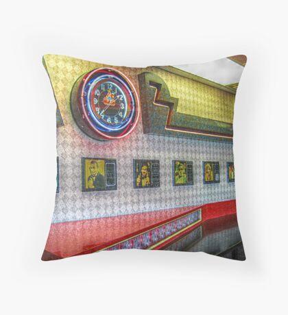 Neon Clock, Retro 50s-60s Burger King Throw Pillow