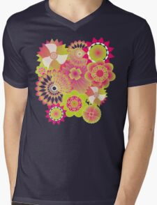 Neon Flowers Mens V-Neck T-Shirt