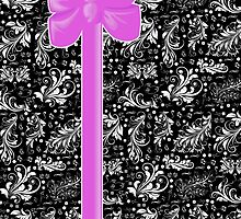 Venetian Damask, Ribbon and Bow, Black White Pink by sitnica