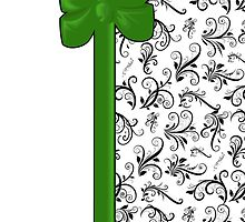 Venetian Damask, Ribbon and Bow, Black White Green by sitnica