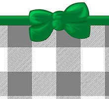 Trendy Chic Gingham, Ribbon and Bow, Gray White Green by sitnica