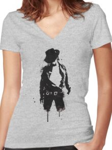Michael Jackson ink Portrait Women's Fitted V-Neck T-Shirt