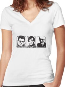 Beat Trinity: Kerouac, Burroughs and Ginsberg  Women's Fitted V-Neck T-Shirt