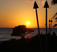 Tiki Torches At Sunset - Oahu by CADavis