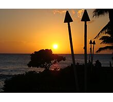Tiki Torches At Sunset - Oahu Photographic Print