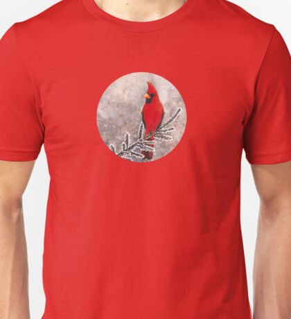 The red cardinal in winter Unisex T-Shirt