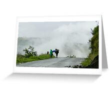 At Work In The Mist And Fog In The Andes Greeting Card