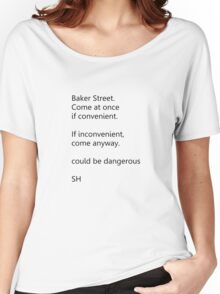 Sherlock Holmes text message (small) Women's Relaxed Fit T-Shirt