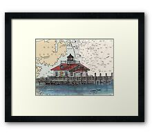 Roanoke Marsh Lighthouse NC Nautical Map Cathy Peek Framed Print