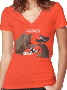 I Am Thankful For Pinnipeds Women's Fitted V-Neck T-Shirt