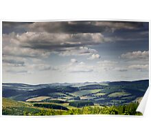 View towards the Tweed Valley, from the Glenpeggy Trail, Cardrona Woods, Scottish Borders Poster