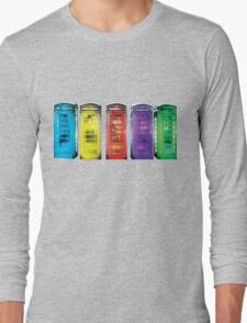 Real Photo of Beautifull Old Battered British Phone Boxes with added colour Long Sleeve T-Shirt