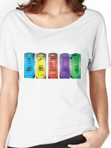 Real Photo of Beautifull Old Battered British Phone Boxes with added colour Women's Relaxed Fit T-Shirt