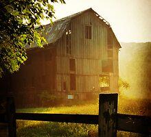 Misty Morning Barn landscape photography rustic barn decor by jemvistaprint