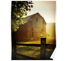 Misty Morning Barn landscape photography rustic barn decor Poster