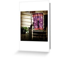 Old Chair and Starry Flag cozy front porch photography Greeting Card