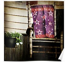 Old Chair and Starry Flag cozy front porch photography Poster