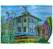 Watercolor Sketch - Shoreline Park. Aquatic Center Building. Mountain View, CA Poster