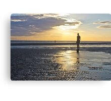 Sunset over Crosby beach Canvas Print