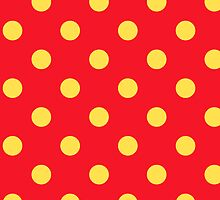Yellow on Red Polka Dots Pattern by Fitbys