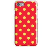 Yellow on Red Polka Dots Pattern iPhone Case/Skin