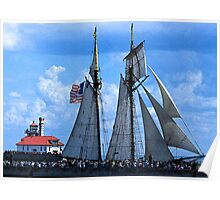 Tall Ship Light House 1 Poster