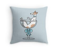 Champagne Glass Greyhound ... brown and white Throw Pillow