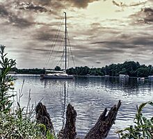 Yacht on Wroxham Broad. by Avril Harris