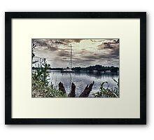 Yacht on Wroxham Broad. Framed Print