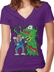 Robot Monster Power Jam Women's Fitted V-Neck T-Shirt