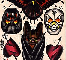 bat, skulls, hearts. old school tattoo flash by resonanteye