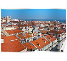 Baixa City Center of Lisbon Panoramic View Poster