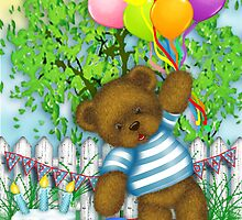 Teddy with Balloons Birthday Card by Patoodie