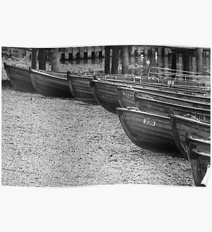 Row of Boats - Ambleside Lake District Poster