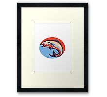 Atlantic Salmon Fish Jumping Retro Framed Print