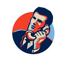 Businessman Talk Telephone Retro by patrimonio