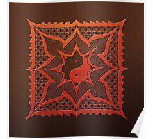 yin yang woodcut mandala (dáorashi) Poster