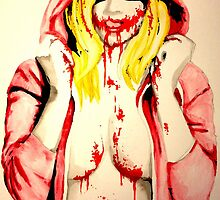 Harley Quinn Red Riding Hood Blood watercolor by justin13art