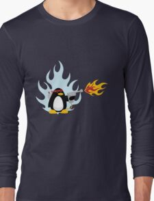 Flamethrower Penguin Long Sleeve T-Shirt
