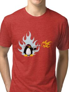 Flamethrower Penguin Tri-blend T-Shirt
