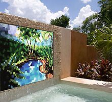 Backyard Waterfall Mosaic - Commissionable by Laurianne  Macdonald