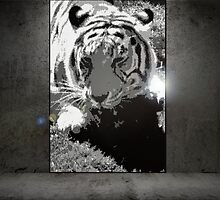Tiger Grunge Mosaic by Laurianne  Macdonald
