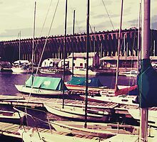 Sailboats In Dock by perkinsdesigns