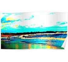 Chasing Stripers, 'Gansett Town Beach, RI Poster