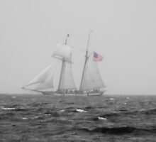B & W Tall Ship In The Fog With A Hint Of Red by Tina Hailey
