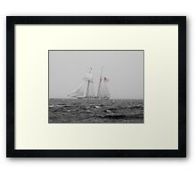 B & W Tall Ship In The Fog With A Hint Of Red Framed Print